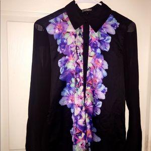 Black floral dress blouse